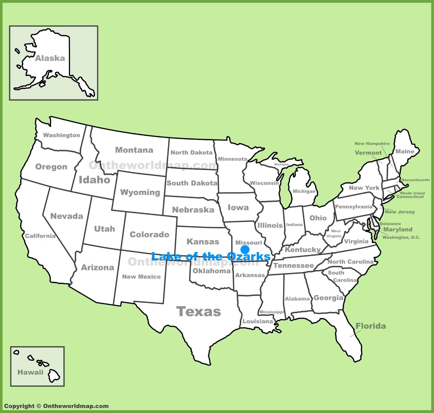 Lake Of The Ozarks Map Lake of the Ozarks location on the U.S. Map Lake Of The Ozarks Map