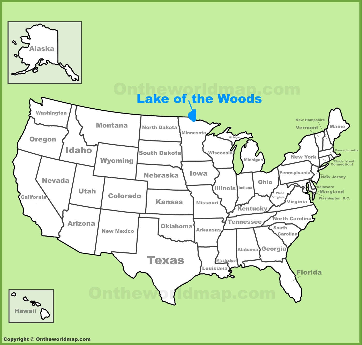 Lake of the Woods location on the US Map