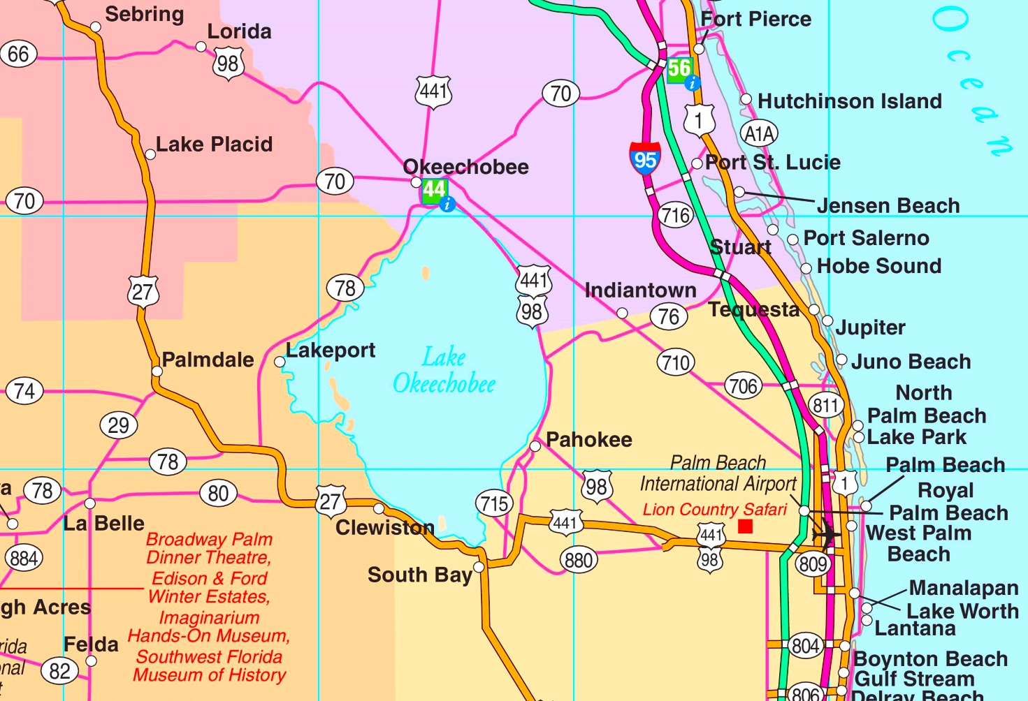 Lake Okeechobee Map Lake Okeechobee road map Lake Okeechobee Map