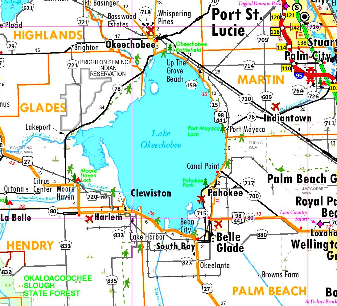 Lake Okeechobee tourist map
