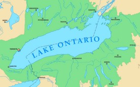 Map of Lake Ontario with cities and rivers