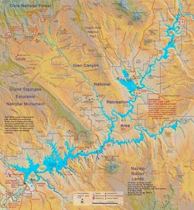 Large detailed map of Lake Powell
