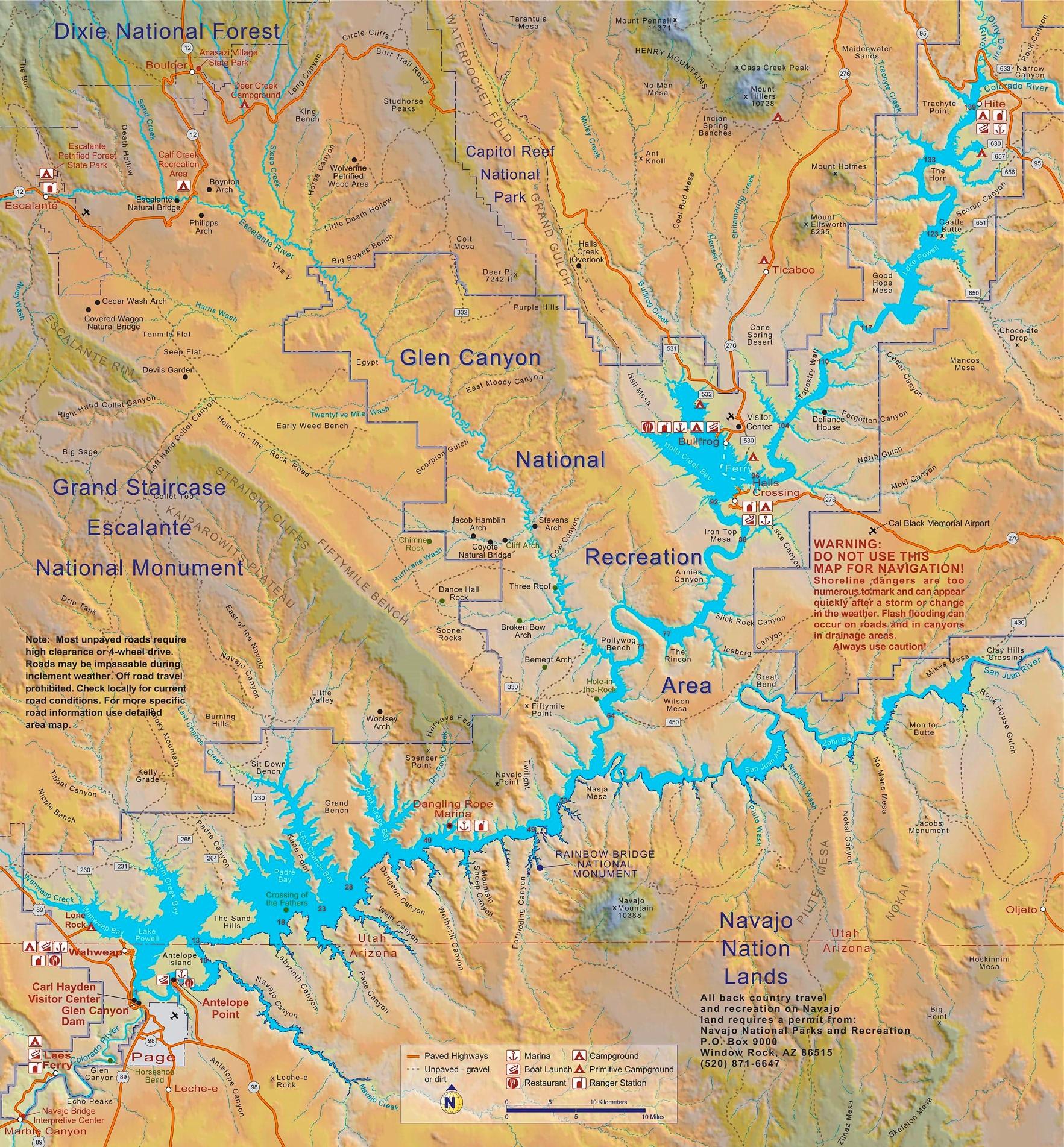 Lake Powell Map Large detailed map of Lake Powell Lake Powell Map
