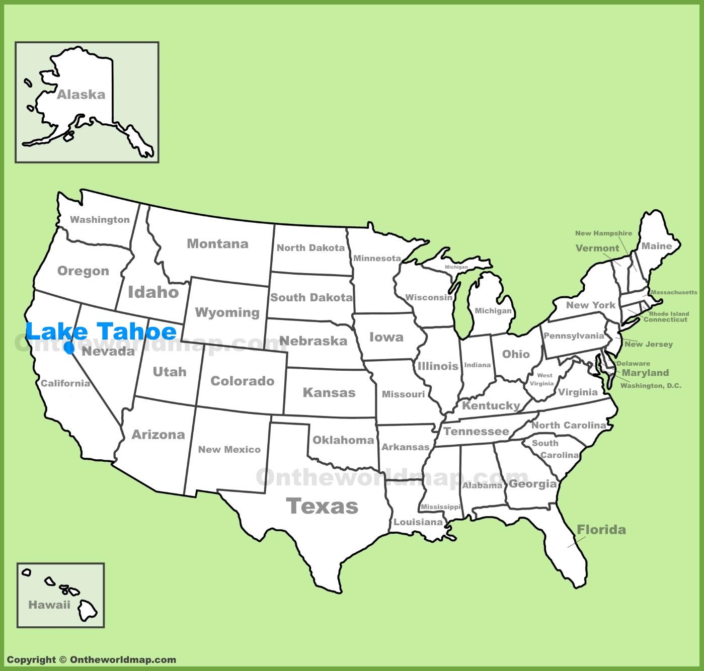 Map Lake Tahoe Lake Tahoe location on the U.S. Map
