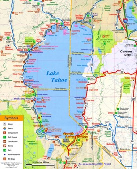Lake Tahoe tourist attractions map