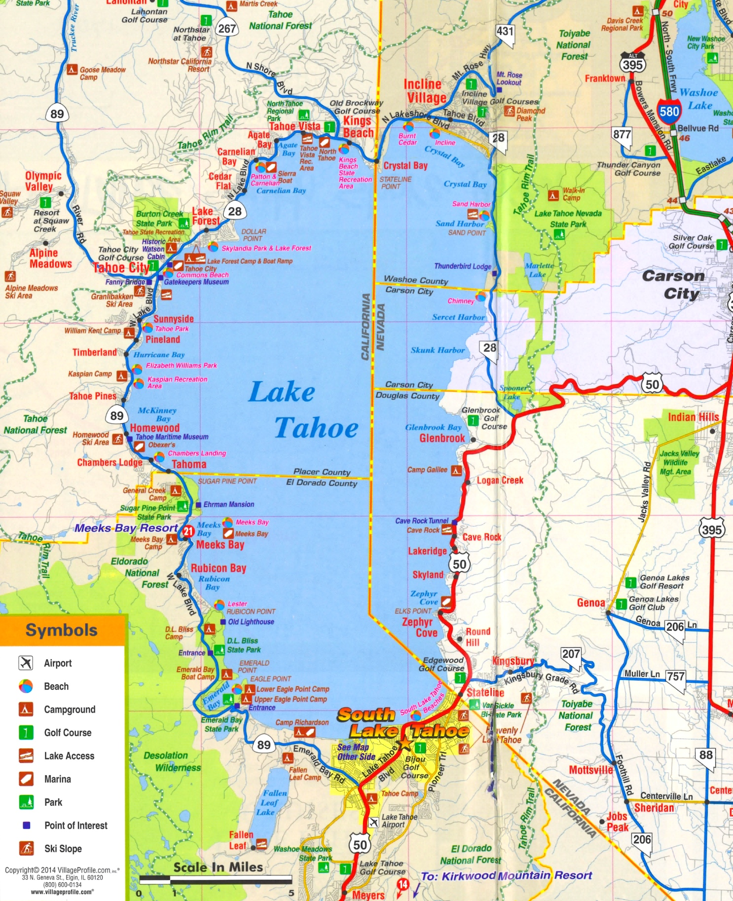 lake tahoe on a map Lake Tahoe Tourist Attractions Map lake tahoe on a map