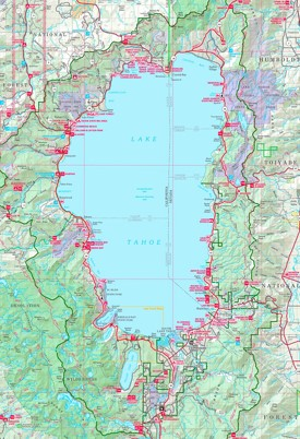 Large detailed tourist map of Lake Tahoe