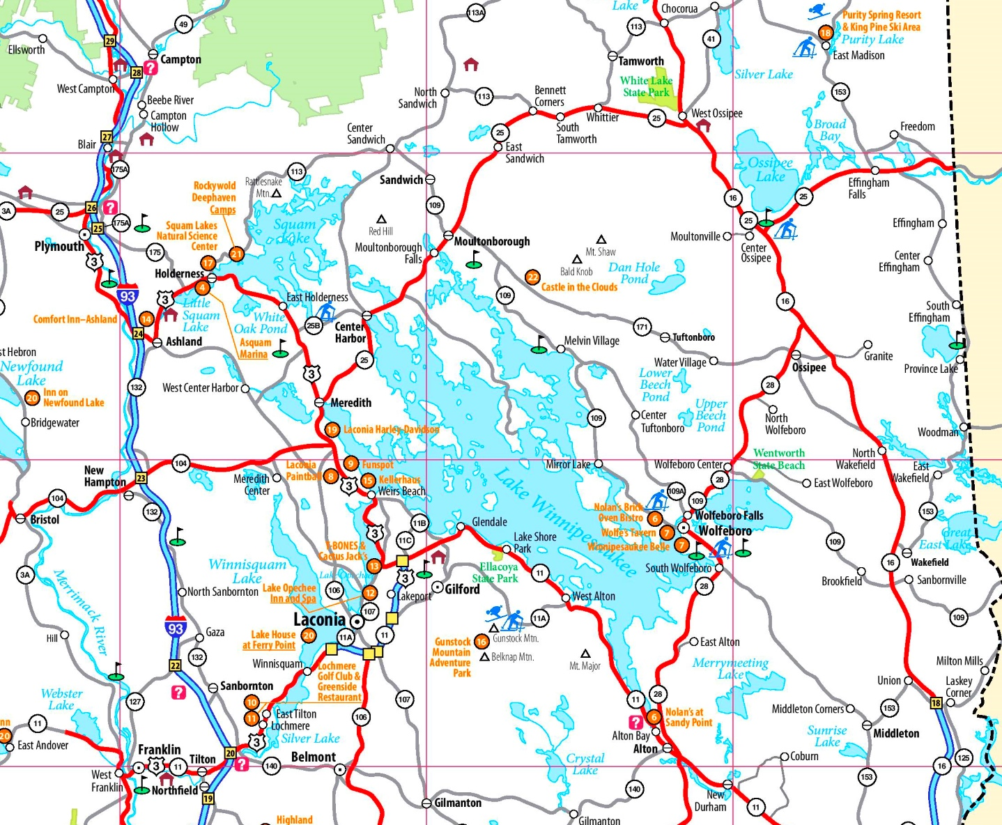 Lake Winnipesaukee Maps Maps of Lake Winnipesaukee
