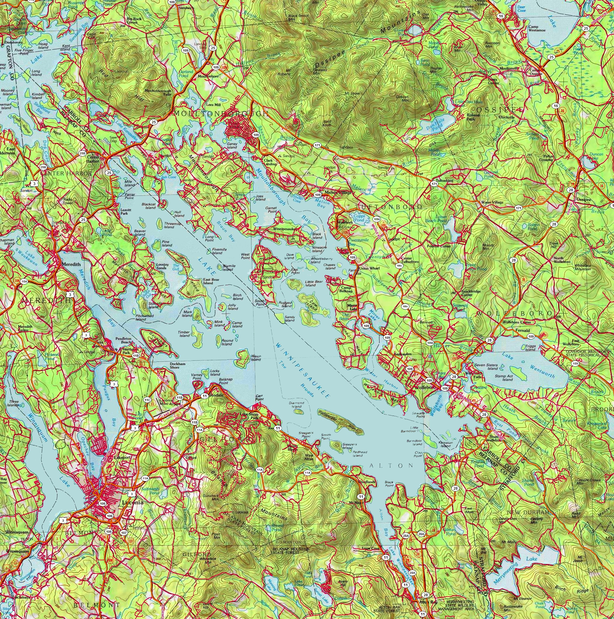 Large detailed map of Lake Winnipesaukee