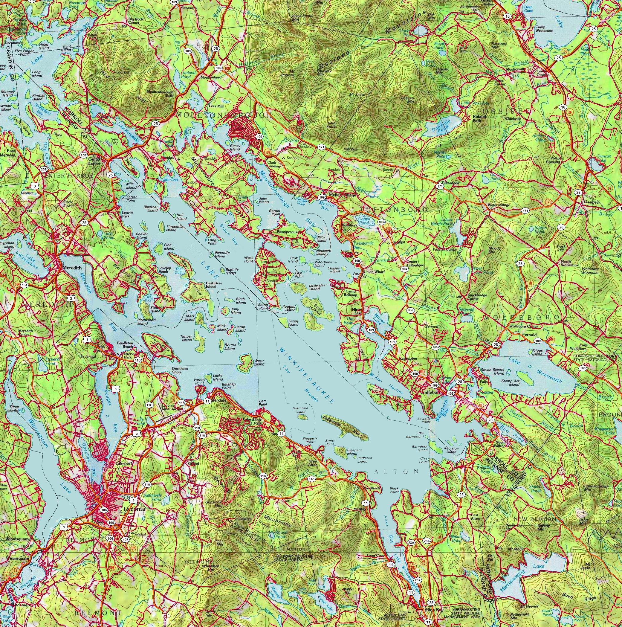 Map Of Lake Winnipesaukee Large detailed map of Lake Winnipesaukee Map Of Lake Winnipesaukee