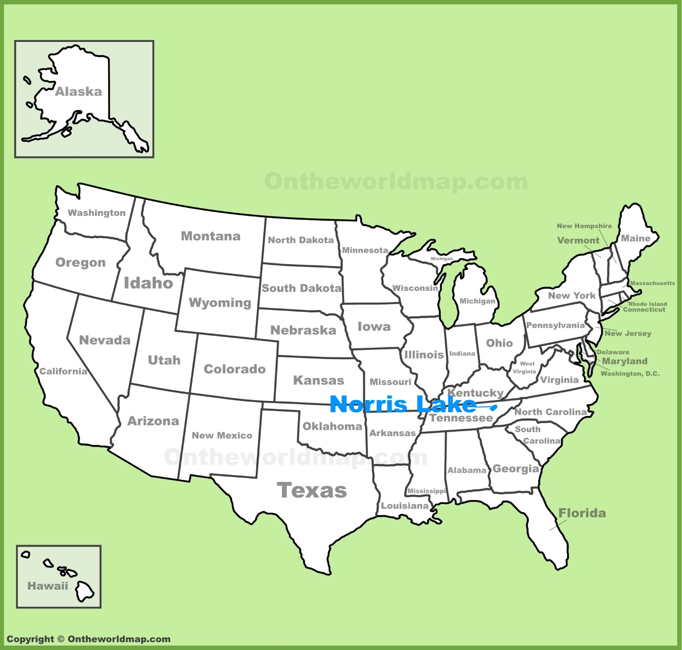 Norris Lake Tennessee Map.Norris Lake Location On The U S Map