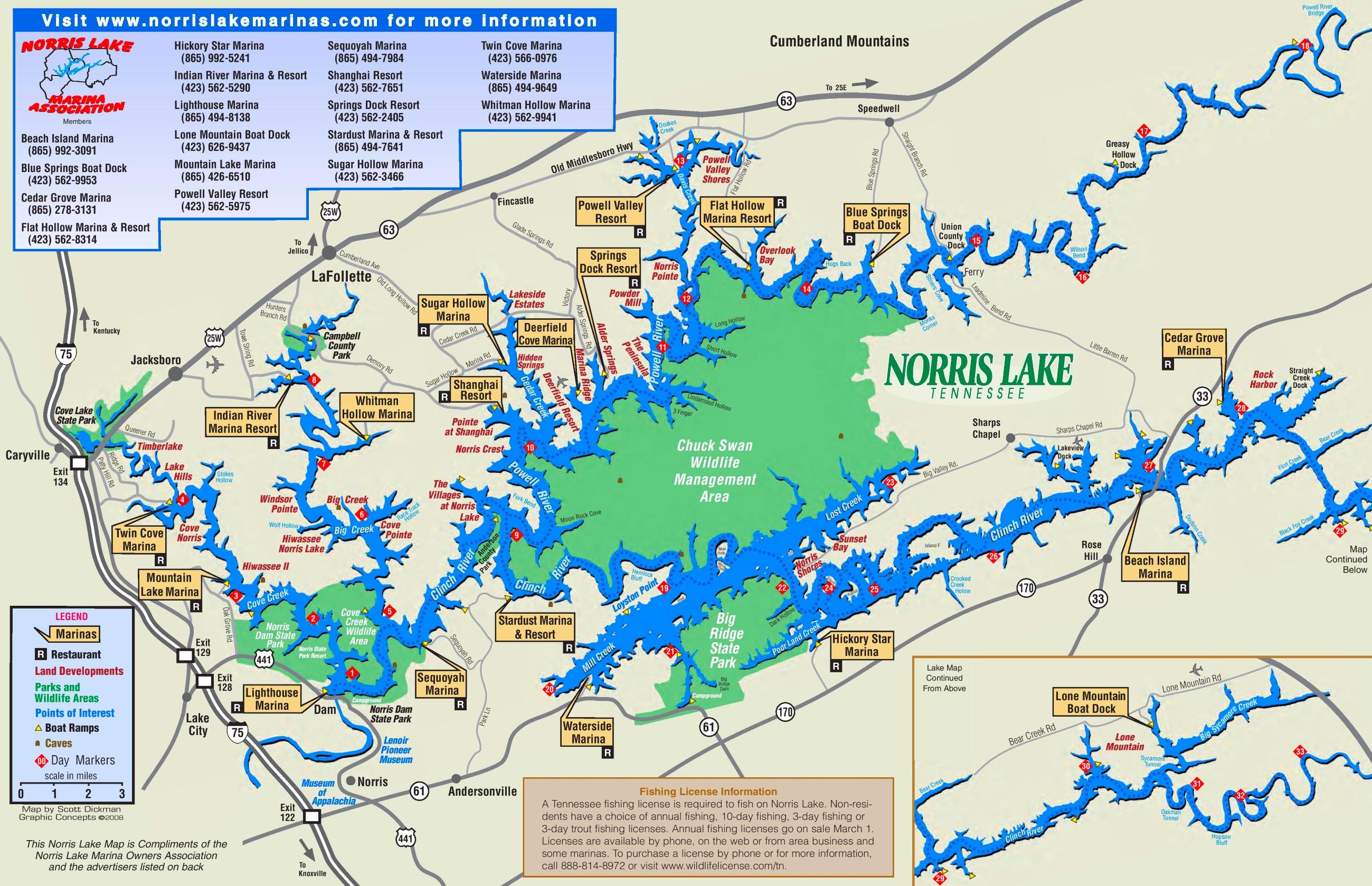 Norris Lake Map Norris Lake tourist map
