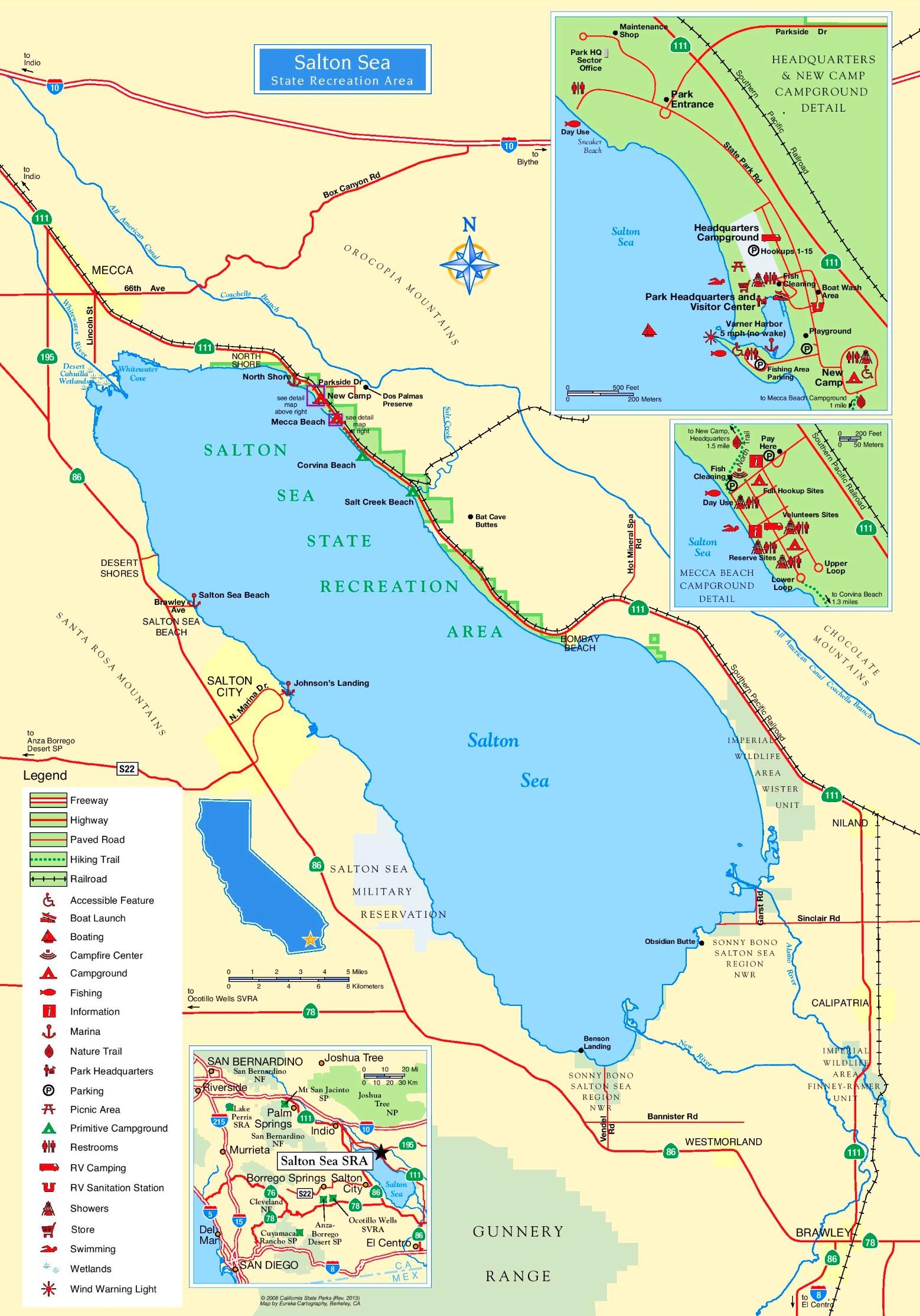 Salton Sea Map Large detailed tourist map of Salton Sea
