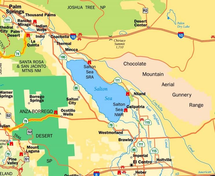 Salton Sea Map Salton Sea area tourist map
