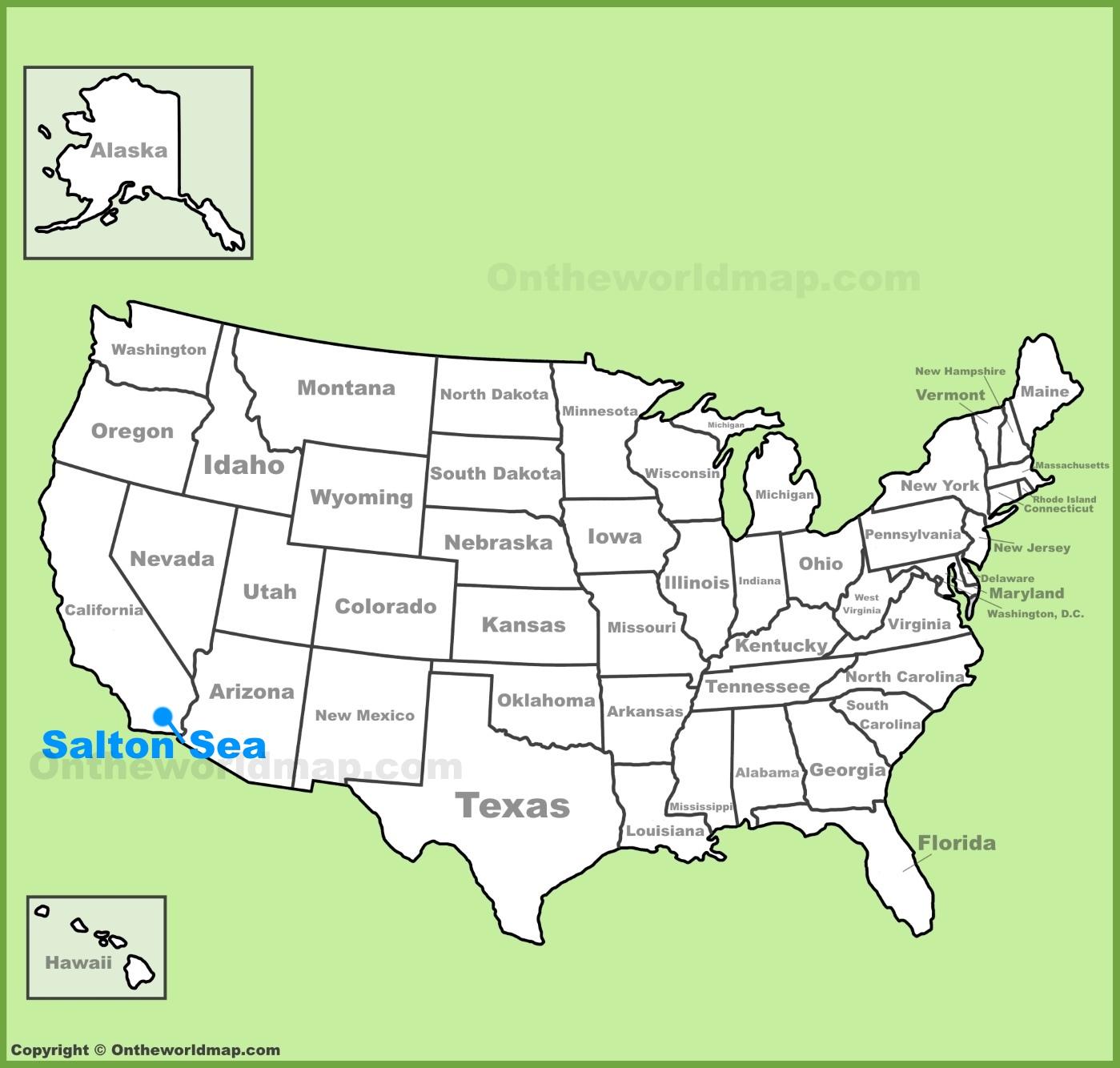 Salton Sea location on the US Map