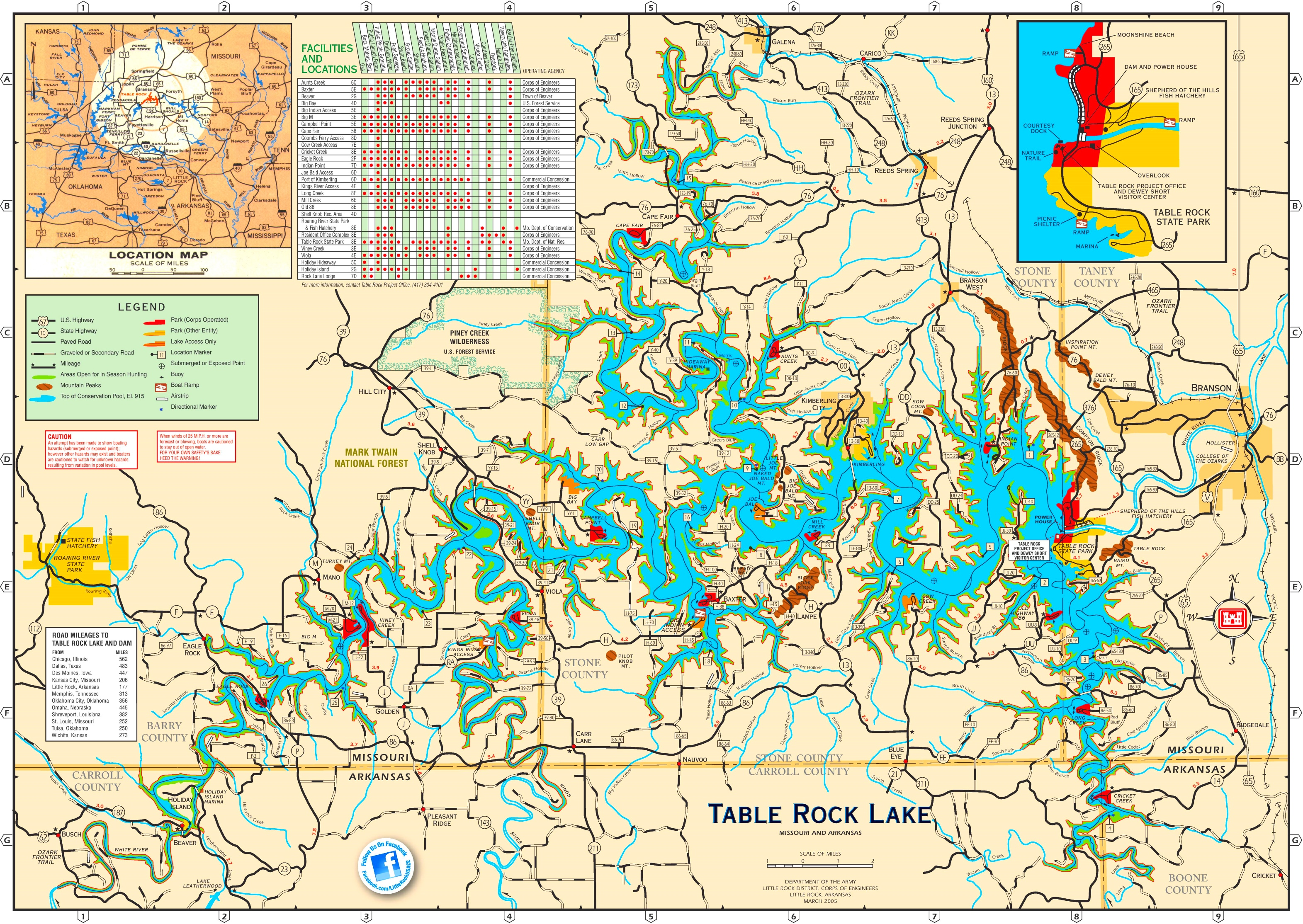 Large Detailed Tourist Map Of Table Rock Lake