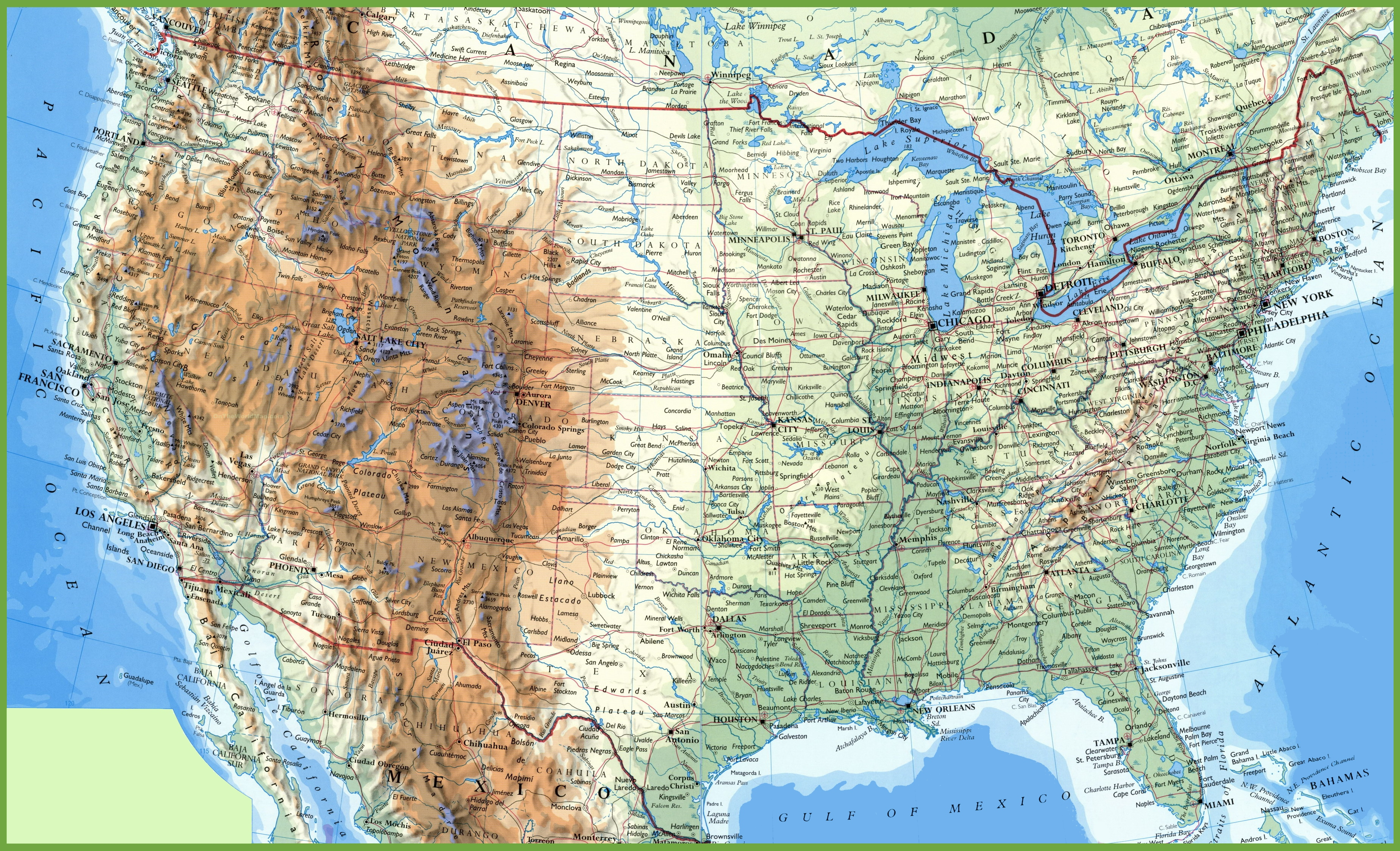 Large detailed map of USA with cities and towns