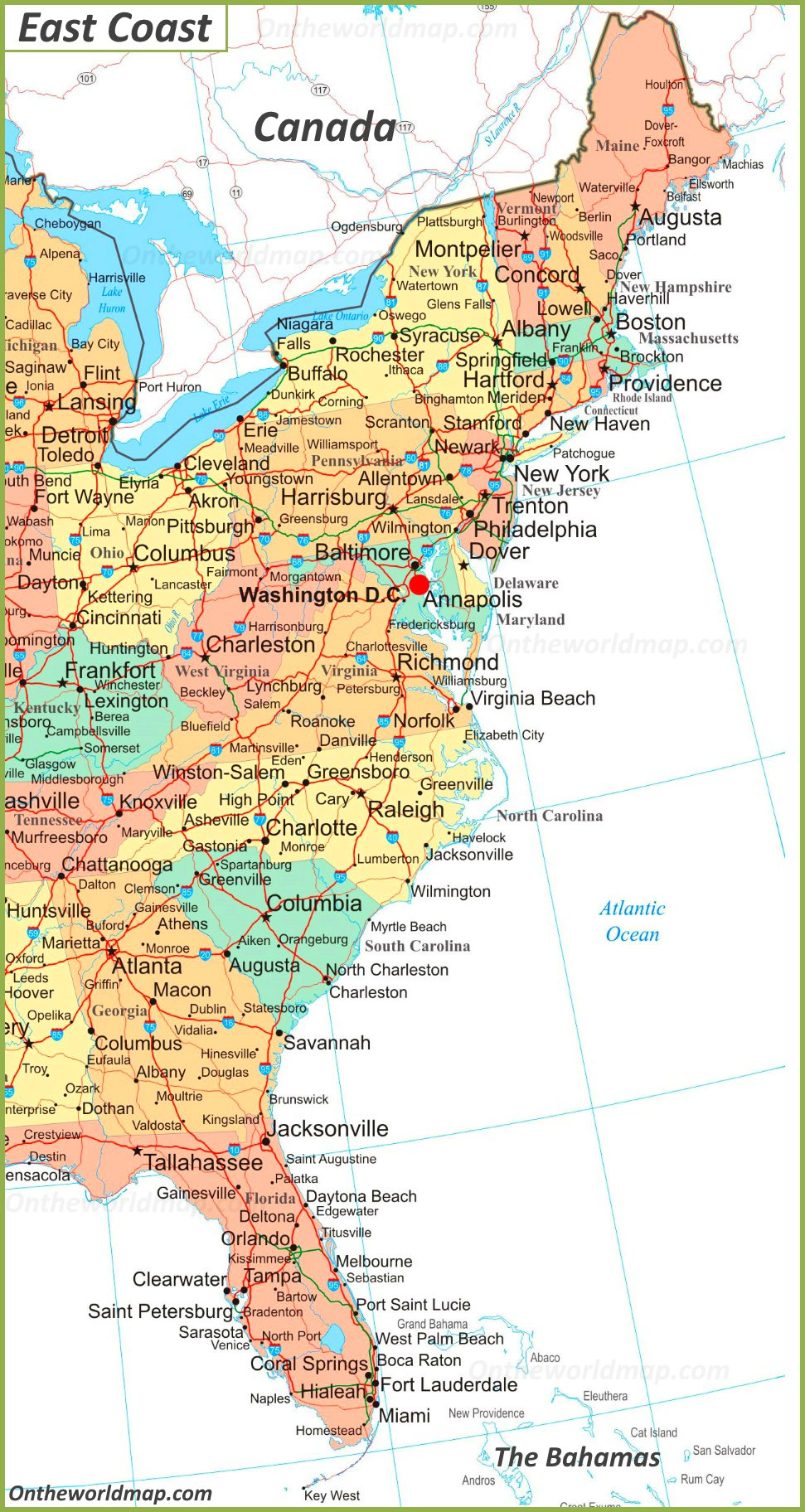Map Of Eastern Usa Map of East Coast of the United States