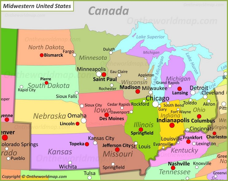 Map Of Midwestern U.S.