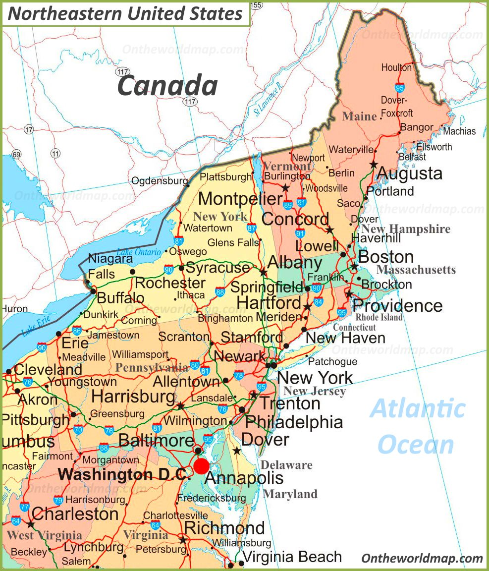 Northeastern United States Map Map Of Northeastern United States