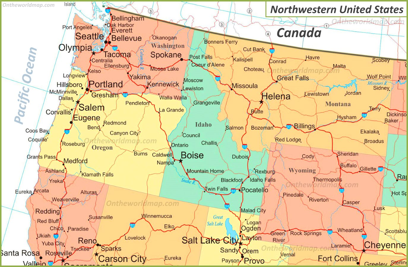 map of the northwestern united states Map Of Northwestern United States