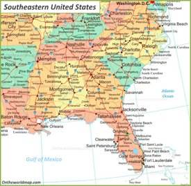Map Of Southeastern U.S.