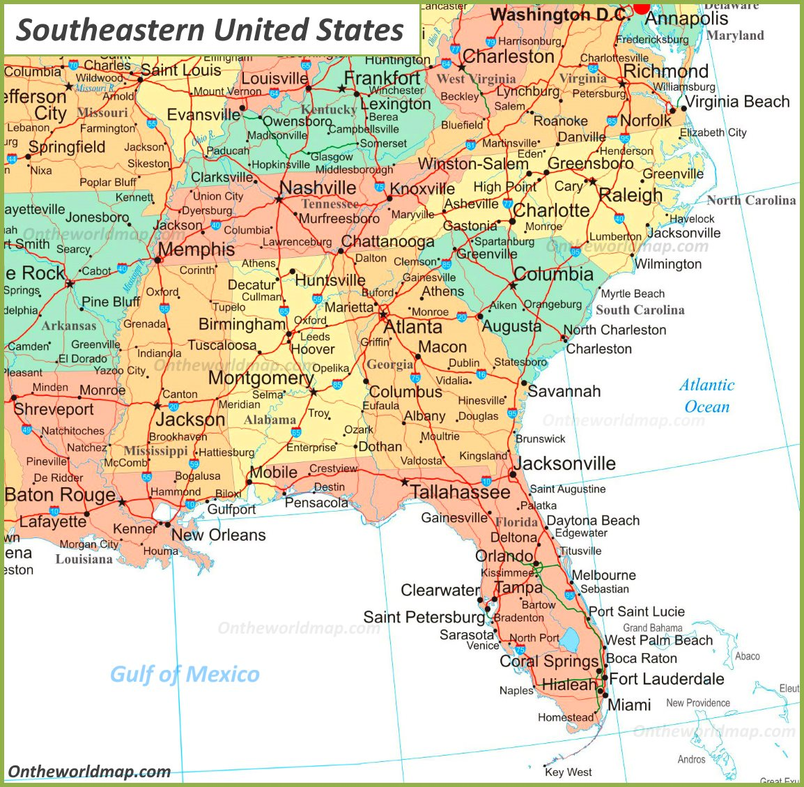 southeast us map with major cities Map Of Southeastern United States