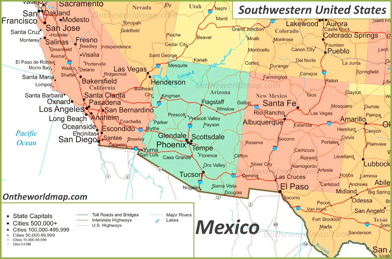 Map Of Southwest Usa With Cities | Map nhautoservice