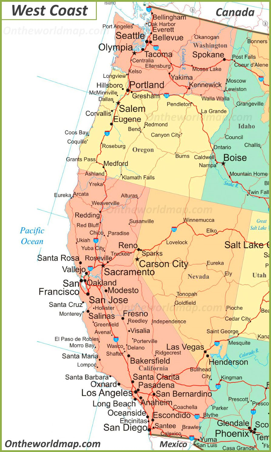 Map Of West Coast Of America And Canada Map of West Coast of the United States