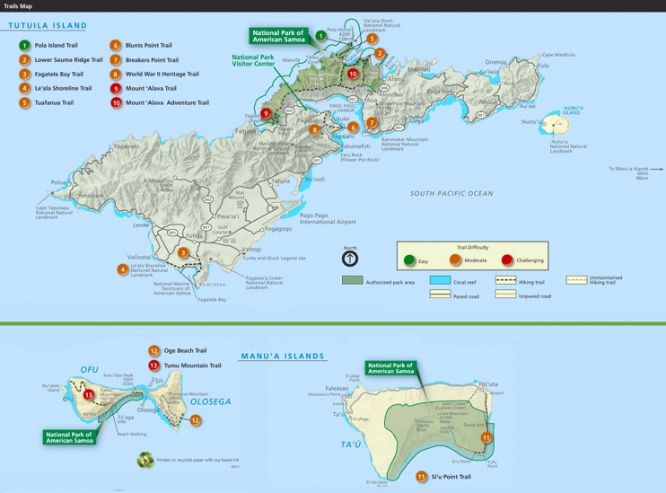 National Park of American Samoa trail map