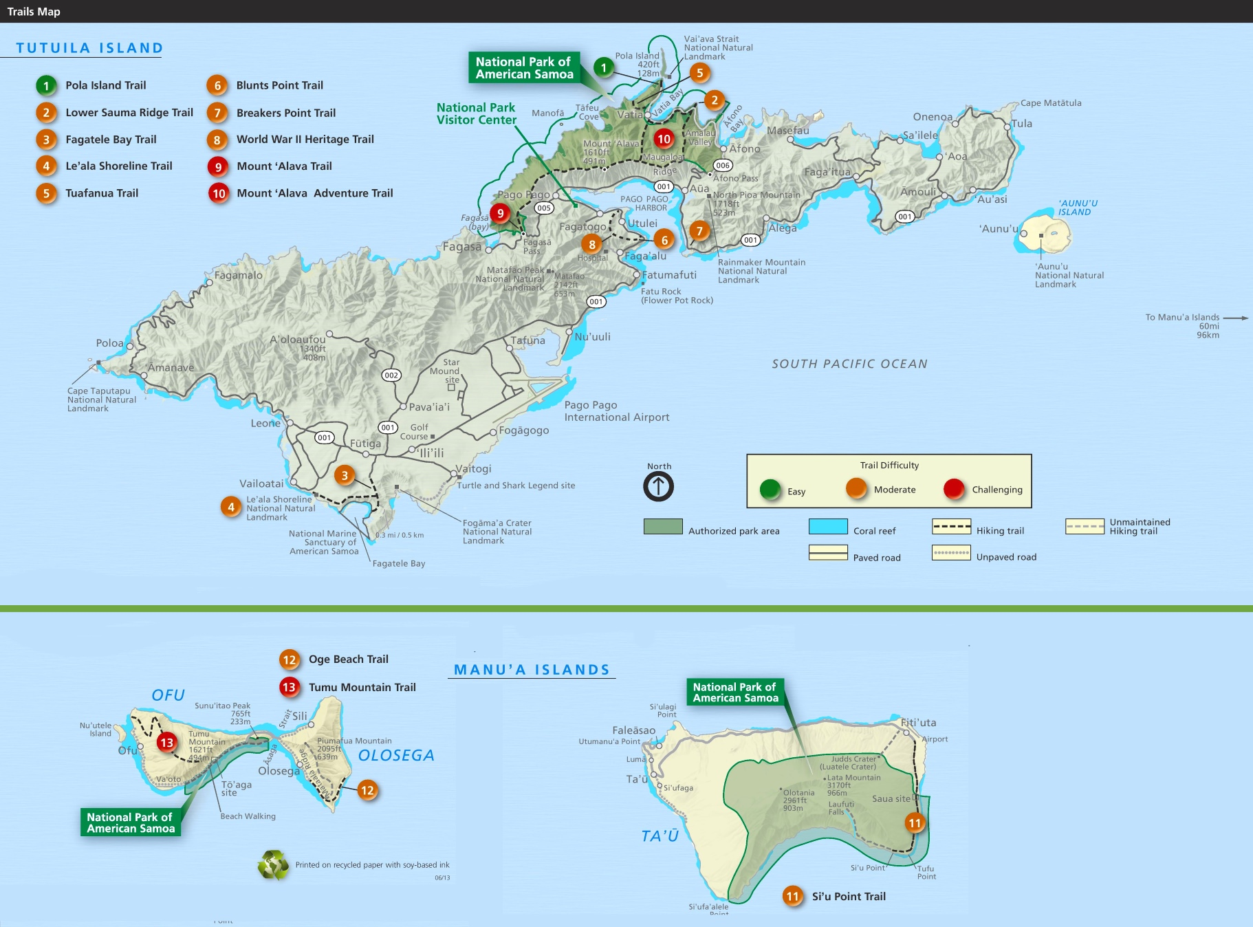 National Park of American Samoa trail map