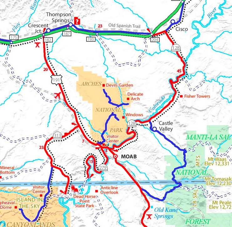 Arches National Park area road map
