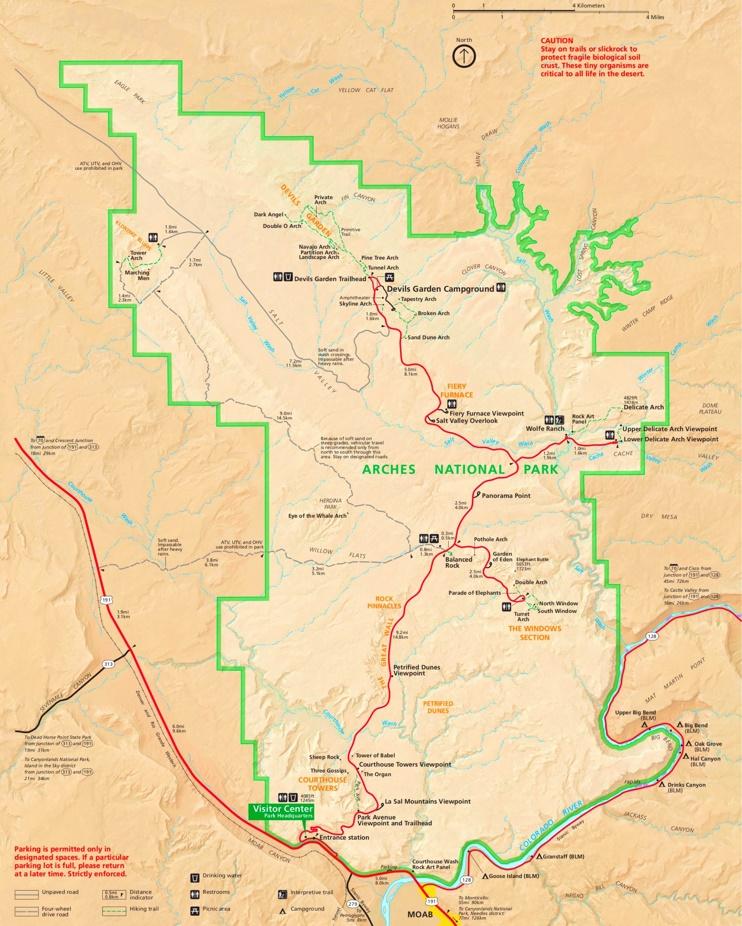Arches National Park tourist map