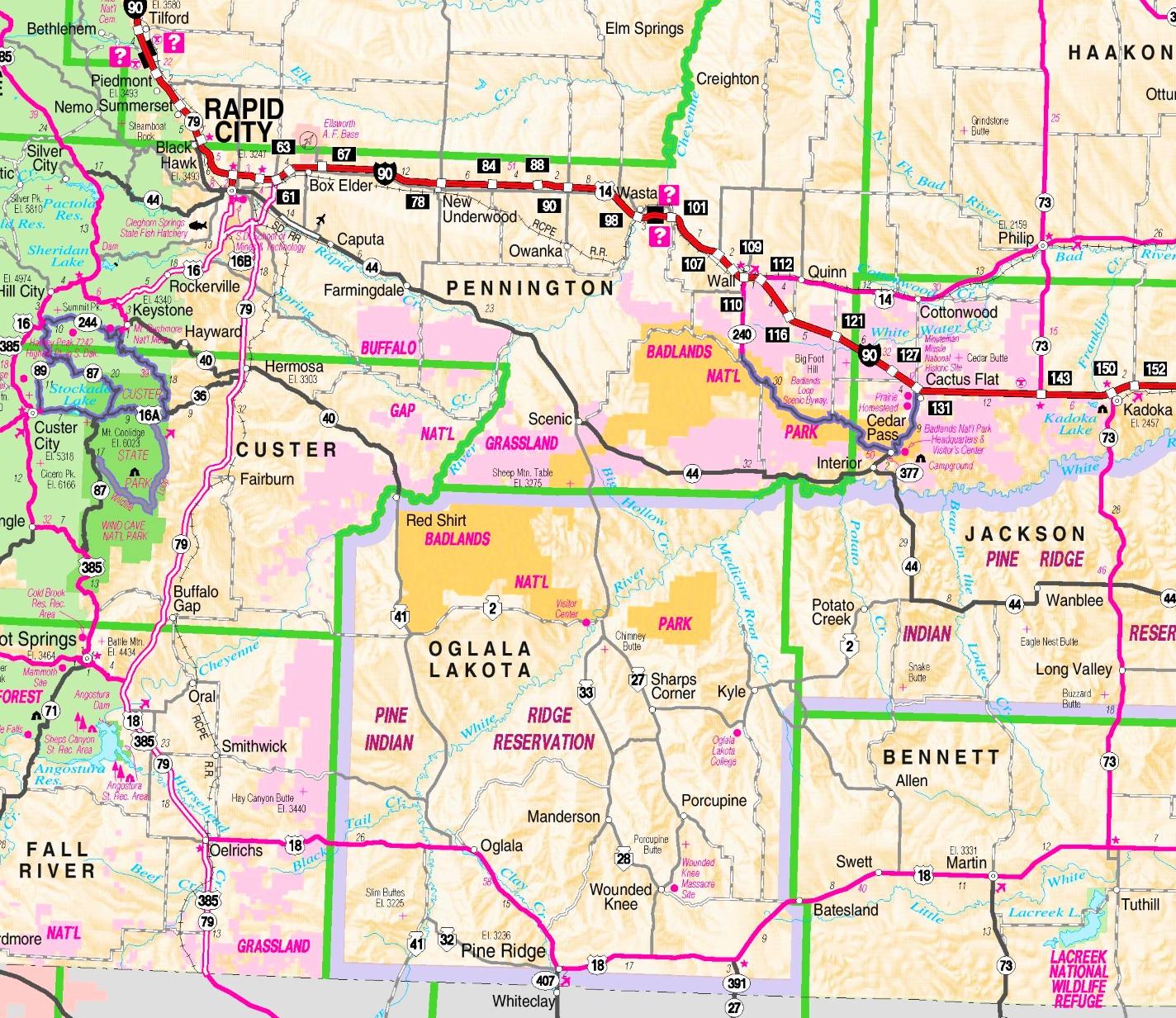 Badlands area road map