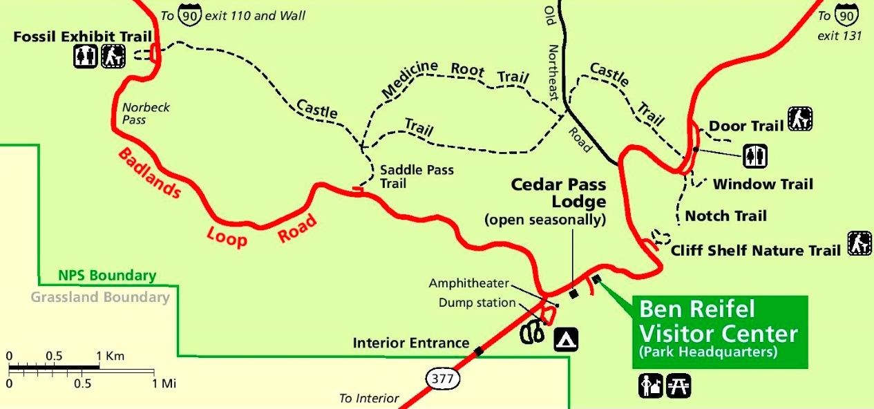 Badlands Cedar Pass Area Map