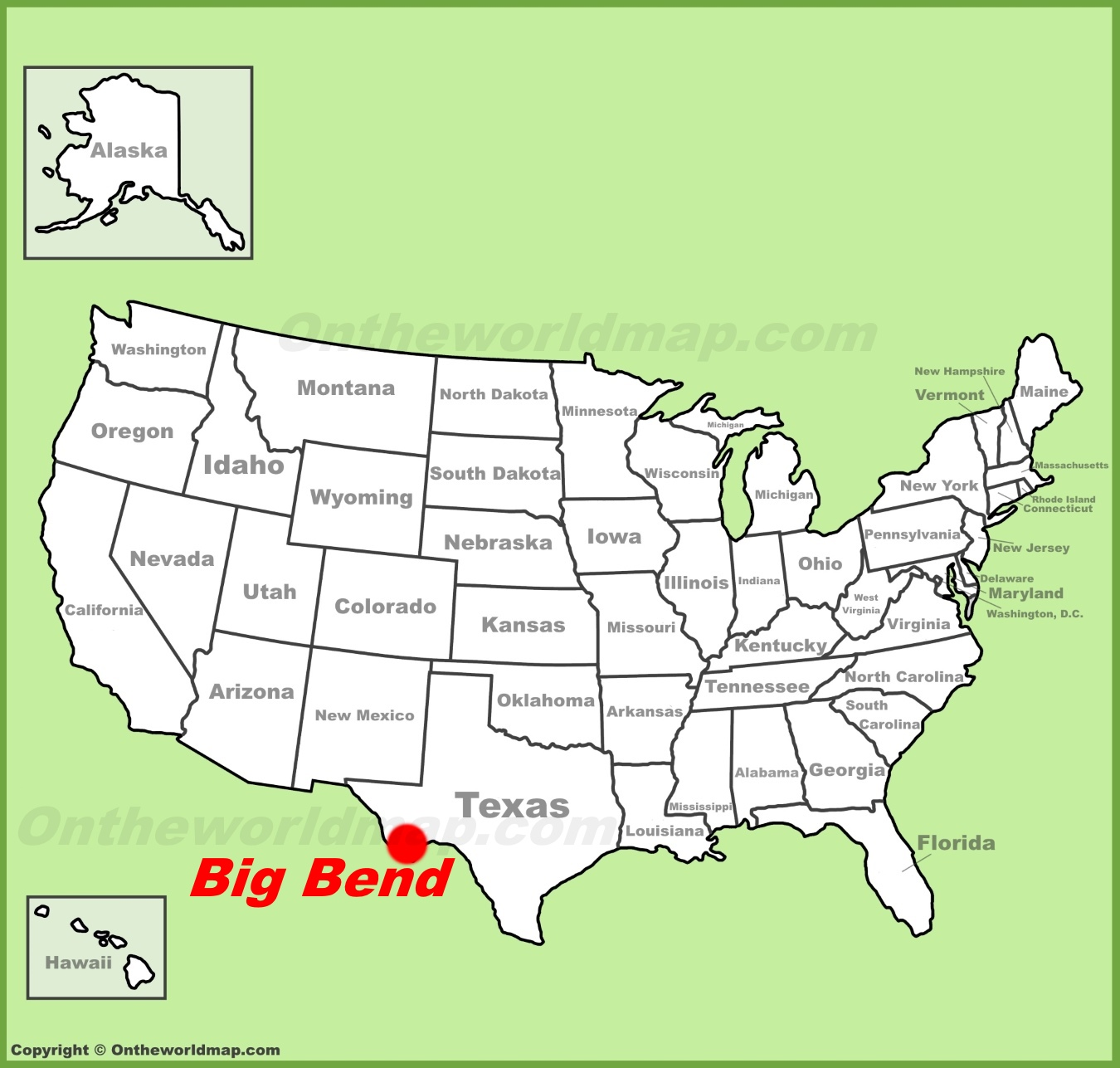 Big Bend National Park location on the US Map