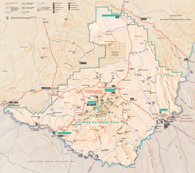 Big Bend National Park lodging and camping map