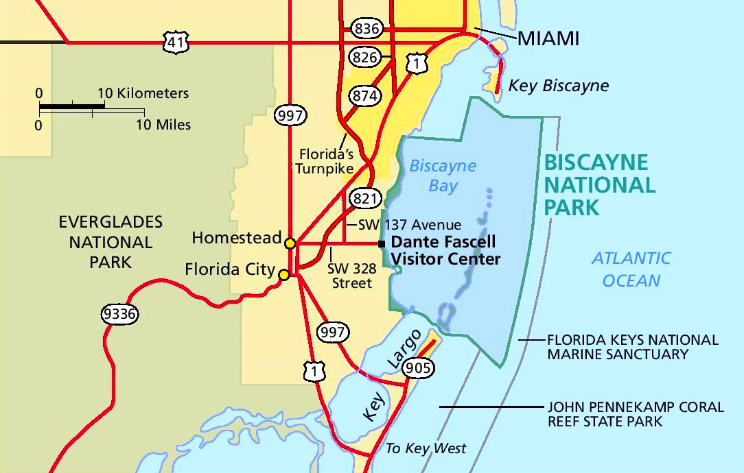 Biscayne National Park area road map