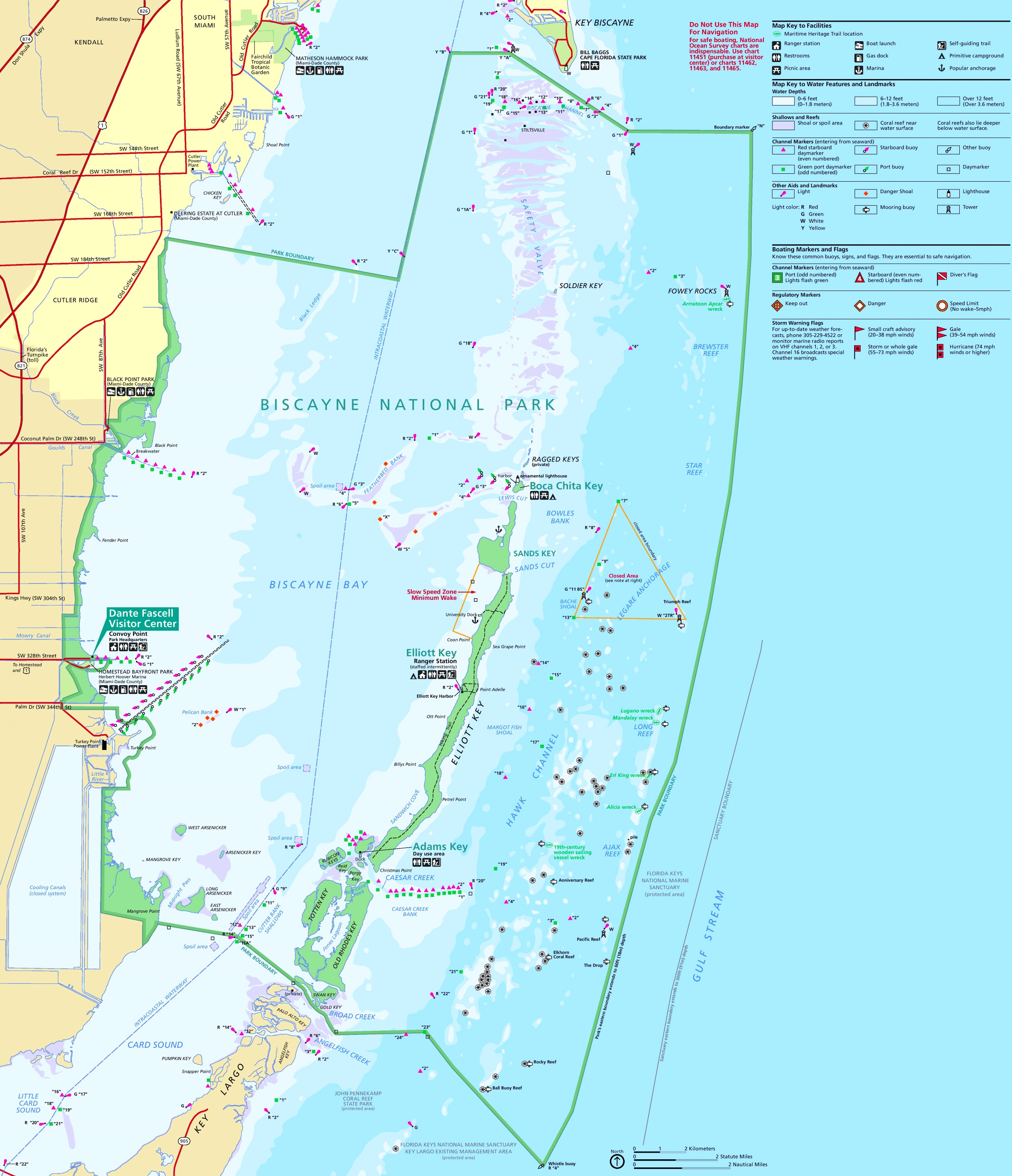 Biscayne National Park tourist map