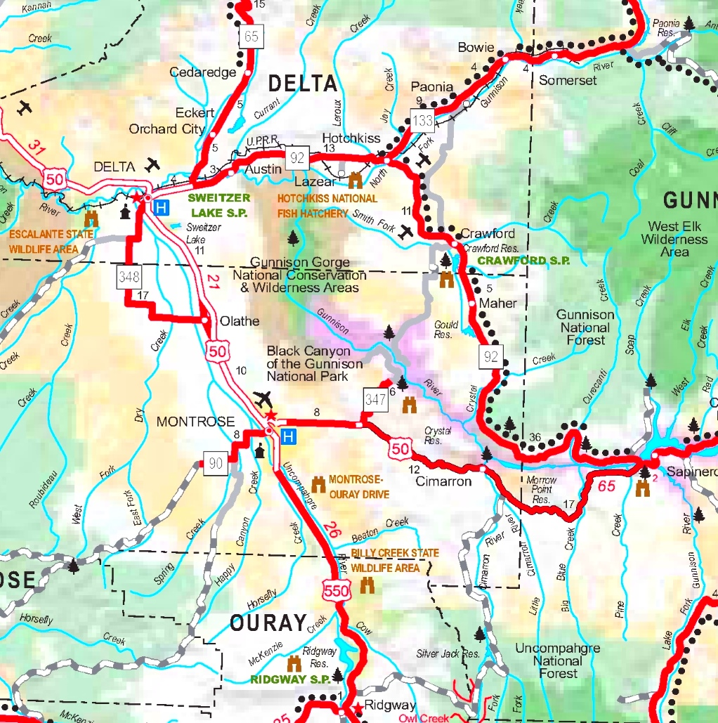 Black Canyon of the Gunnison area road map