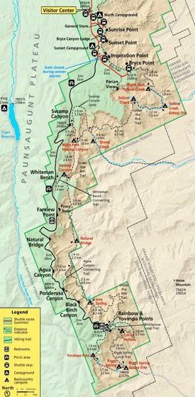 Bryce Canyon hiking map