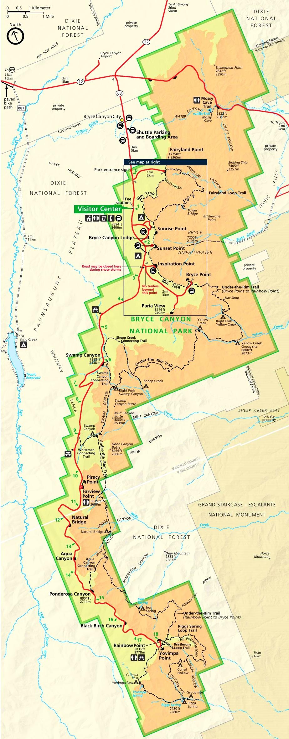 Bryce Canyon tourist map