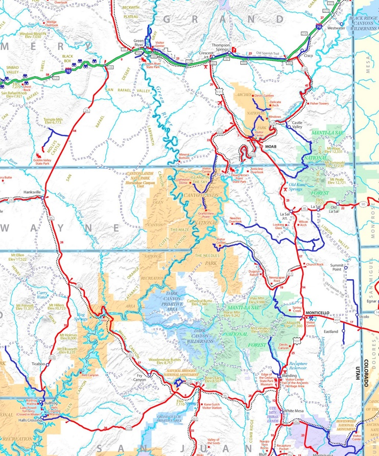 Canyonlands National Park area road map