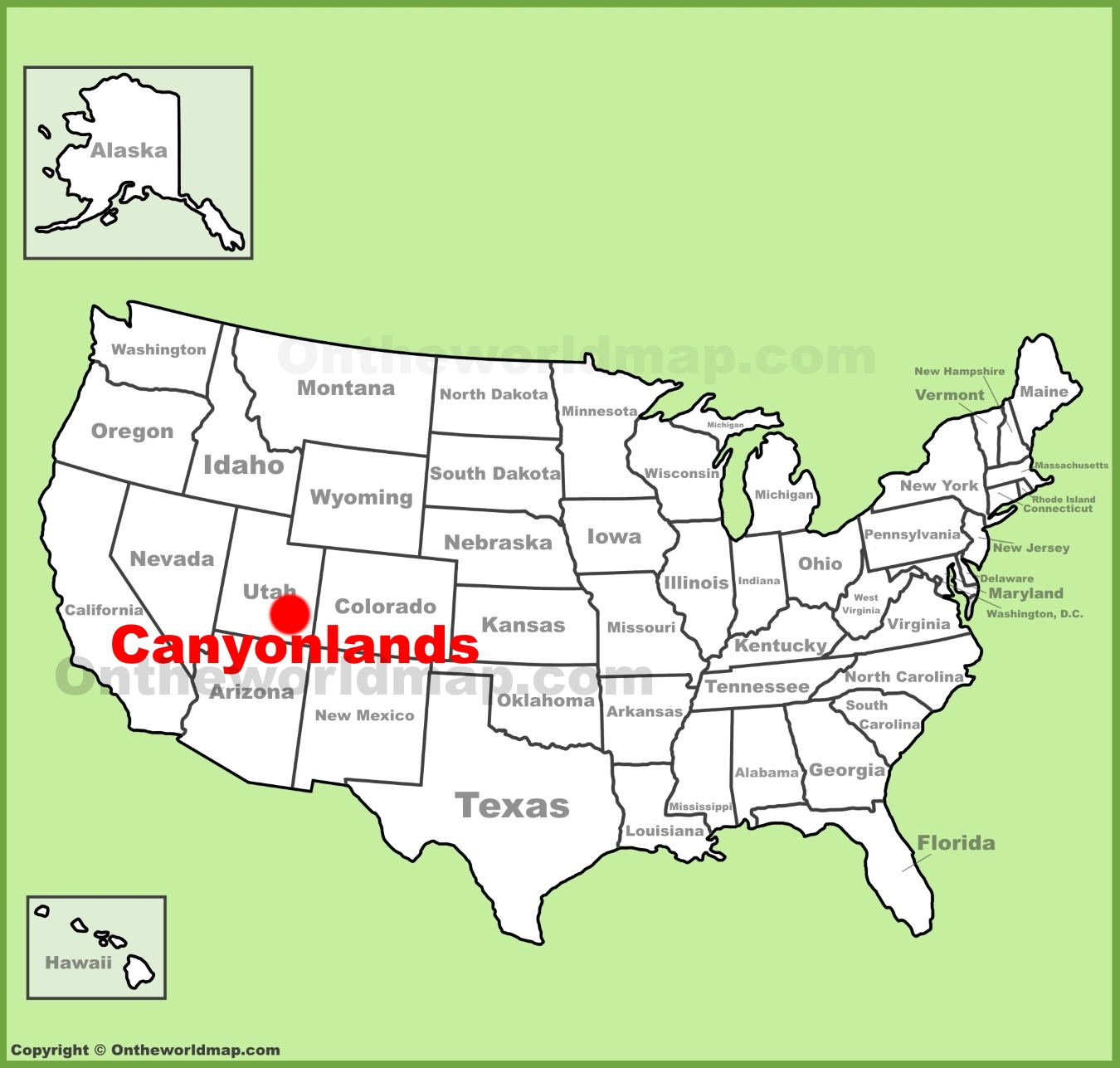 Canyonlands National Park location on the U.S. Map
