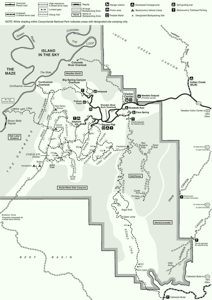 Canyonlands Needles hiking map