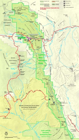 Capitol Reef National Park tourist map