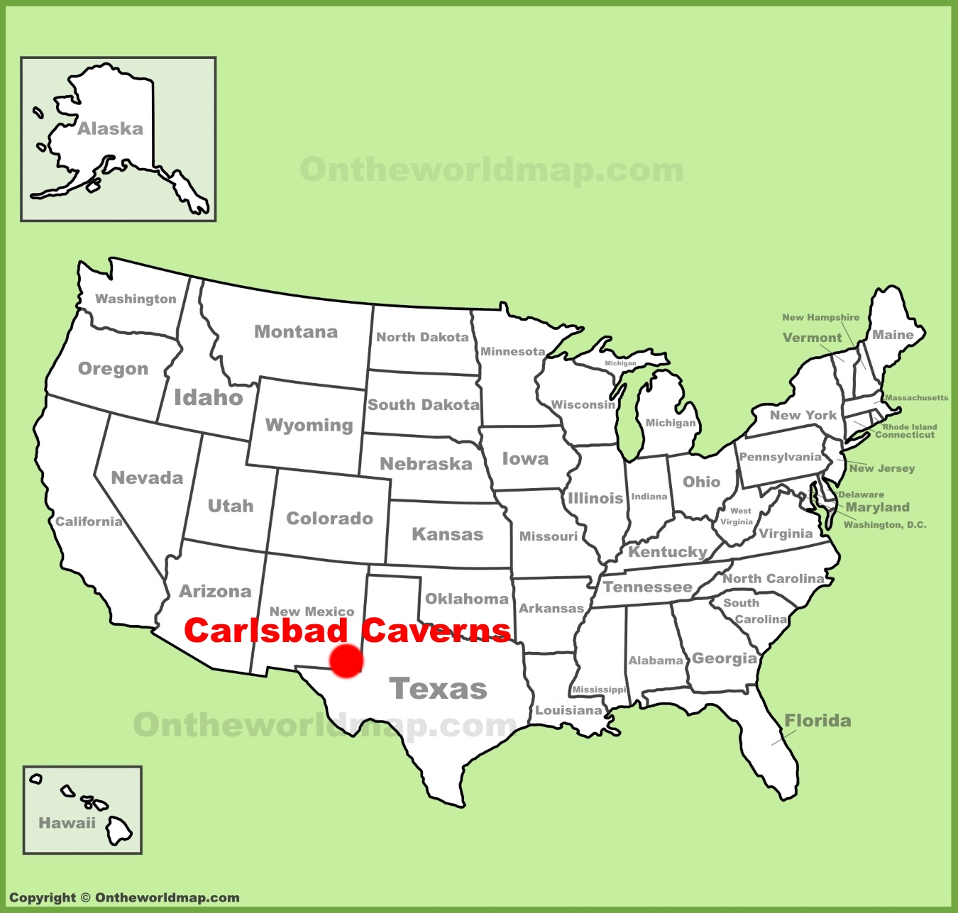 Carlsbad Caverns location on the US Map