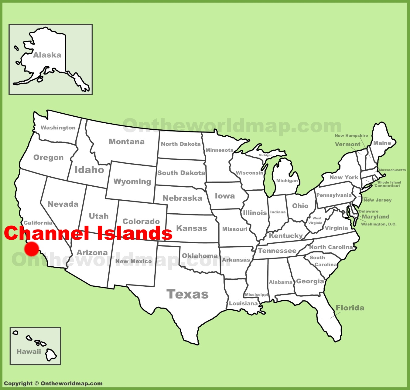 Channel Islands National Park location on the U.S. Map
