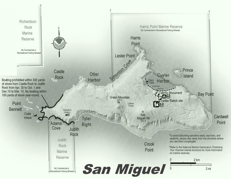 San Miguel Island hiking map