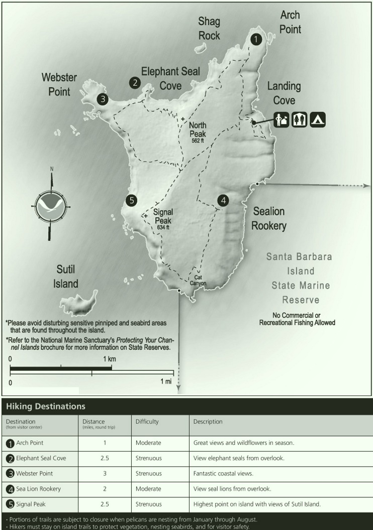 Santa Barbara Island hiking map